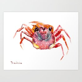 Crab, red pink orange kitchen artwork design Art Print