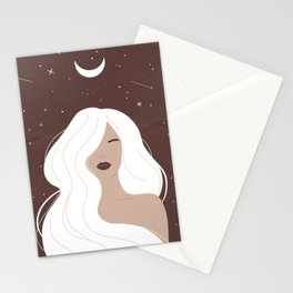 Mystical woman with long white hair, Feminine art, Celestial art, Witchy, Mid Century art Stationery Cards