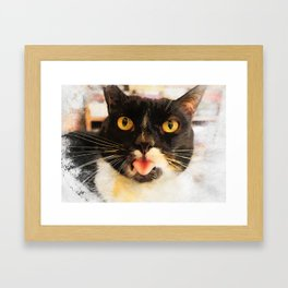 cat Jagoda kiss Framed Art Print