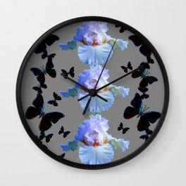 BLACK BUTTERFLIES & PASTEL IRIS MODERN ART DESIGN Wall Clock