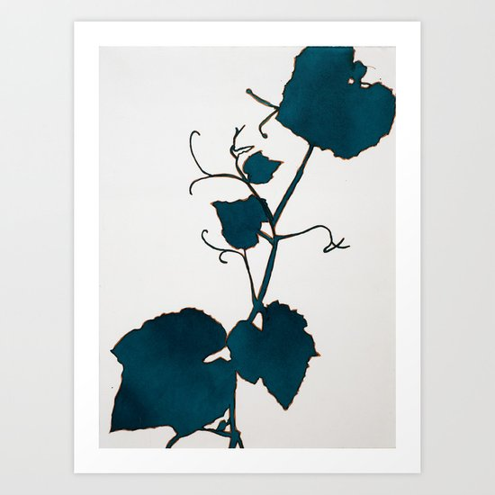 Teal Grape Leaves Art Print
