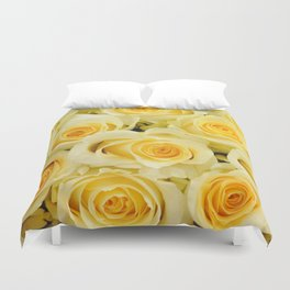 soft yellow roses close up Duvet Cover