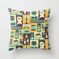 risa rodil Throw Pillows featuring Empty Hearse by Risa Rodil