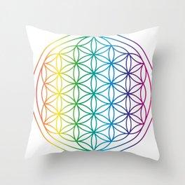 Flower Of Life Rainbow Sacred Geometry Throw Pillow