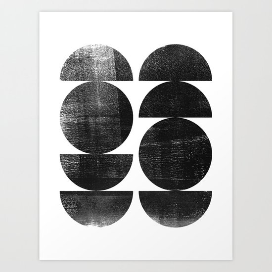 Black and White Mid Century Modern Circles Abstract by mininst