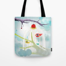 Abstract Cage Birds and Branches  Tote Bag