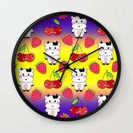 Cute funny sweet adorable happy baby cows, little cherries and red ripe summer strawberries cartoon fantasy bright sunny yellow purple red pattern design Wall Clock