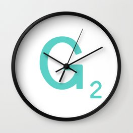 Aqua Letter G Custom Scrabble Wall Clock