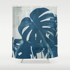 Blue Monstera #2 Shower Curtain