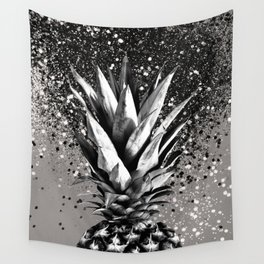 Pineapple Silver Gray Glitter Glam #1 #tropical #fruit #decor #art #society6 Wall Tapestry