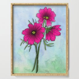 Magenta Cosmos Simple Bouquet on Sky Serving Tray