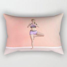 Tree Yoga Pose Female Woman Demonstration Concept Rectangular Pillow