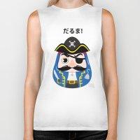 pirates Biker Tanks featuring Pirates Daruma by elysiaillustration