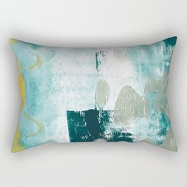 023.2: a vibrant abstract design in teal green and yellow by Alyssa Hamilton Art  Rectangular Pillow