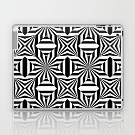 Black and white op art pattern with stars and striped lines Laptop & iPad Skin
