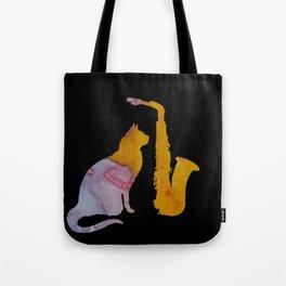 Cat And Saxophone Tote Bag