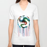 world cup V-neck T-shirts featuring Bleed World Cup by DesignYourLife