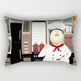 Funny Chef in a Big Hat in the Kitchen Rectangular Pillow