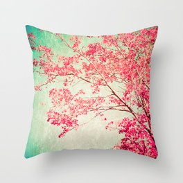 Autumn - Fall - foliage - Hot pink tree leaves in a textured blue sky Throw Pillow