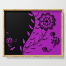 Dazzling Violet Floral Abstract Serving Tray