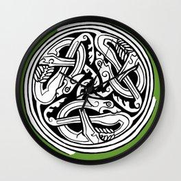 Celtic Art - Dog Triskele - on Green Wall Clock