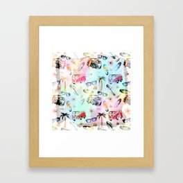 Beach time- Tropical summer watercolor pattern Framed Art Print
