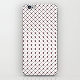Pantone Red Pear Thin Line Stripe Grid (Pinstripe) and Polka Dots on White iPhone Skin