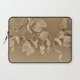 Dogwood Tree Flowers (sepia-light) Laptop Sleeve