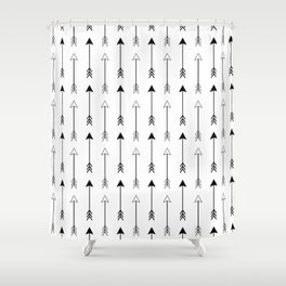 Black and White Arrows Pattern Shower Curtain