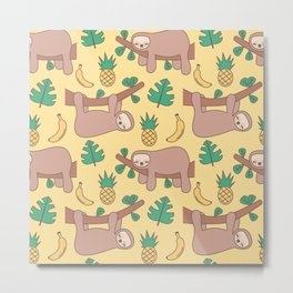 cute cartoon sloth seamless pattern background with exotic leaves, pineapples and bananas Metal Print