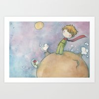 le petit prince Art Prints featuring Le Petit Prince by malipi