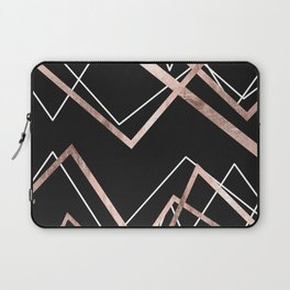 Rose Gold Black Linear Triangle Abstract Pattern Laptop Sleeve