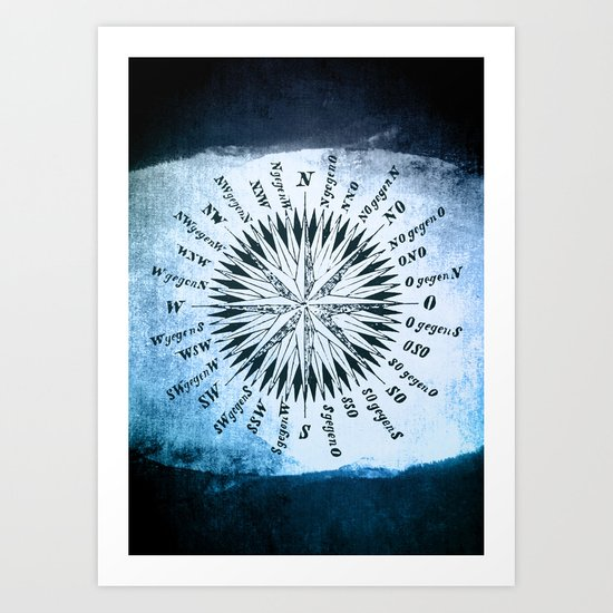 Windrose blue version Art Print