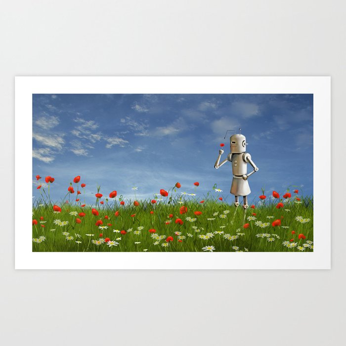 Robot in field of wildflowers Art Print