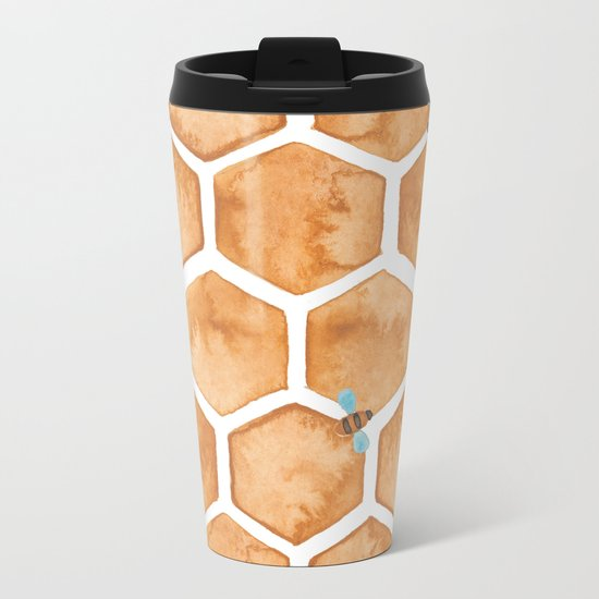 Honey Bee Hexagons Metal Travel Mug