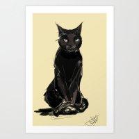 black cat Art Prints featuring Black Cat by Jaleesa McLean