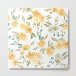 Yellow Autumnal Watercolor Florals Metal Print