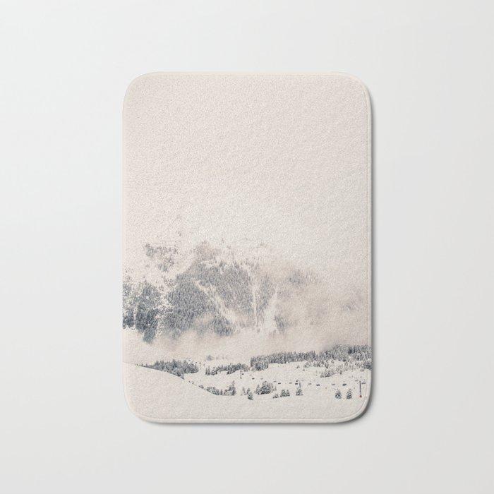White Winter Mountains In Snow Bath Mat