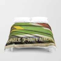 south africa Duvet Covers featuring South Africa grunge sticker flag by Lulla