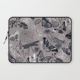 Dragonflies, Butterflies and Moths With Plants on Grey Laptop Sleeve