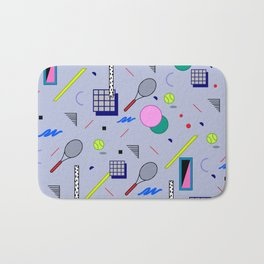 Seamless colorful pattern in retro style on grey background with tennis ball and tennis racket Bath Mat