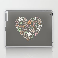 Floral Heart - in Charcoal Laptop & iPad Skin