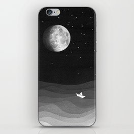 Moon phase, black and white, ocean iPhone Skin