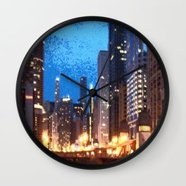 Chicago Night on Lasalle Street Wall Clock