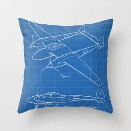 Lockheed P-31 Airplane Patent - Lightning Aircraft Art - Blueprint Throw Pillow