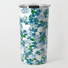 Summer Blues, Floral Pattern Travel Mug