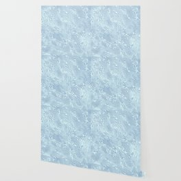 Baby Blue Silk Moire Pattern Wallpaper