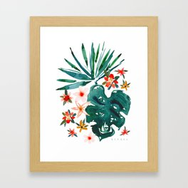 TROP DON'T STOP Tropical Palms and Monstera Framed Art Print