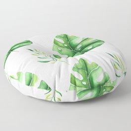 Green Split Leaf Seamless Pattern Floor Pillow