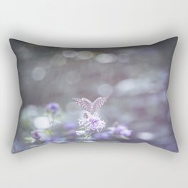 Sun rays and bokeh effect over the butterfly Rectangular Pillow
